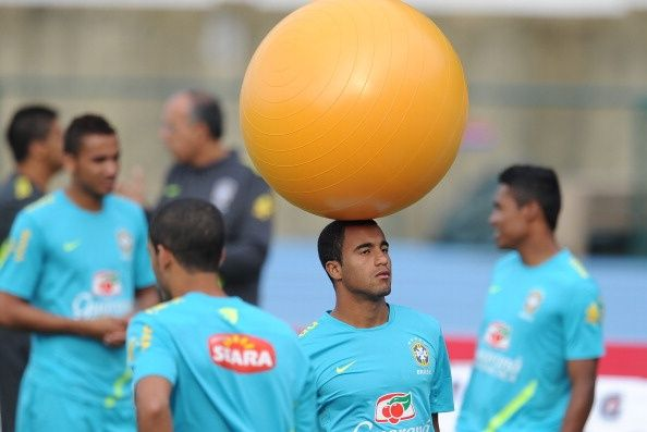 Brazilian footballer Lucas takes part in a training session of the national team participating in the London Olympics, in Rio de Janeiro on July 12, 2012. The Olympic Games get underway in the British capital on July 27, with the football tournament scheduled to start two days earlier