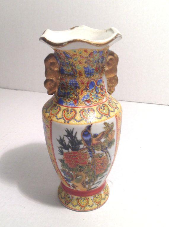 Vintage Oriental moriage bud vase Asian vase bird of paradise