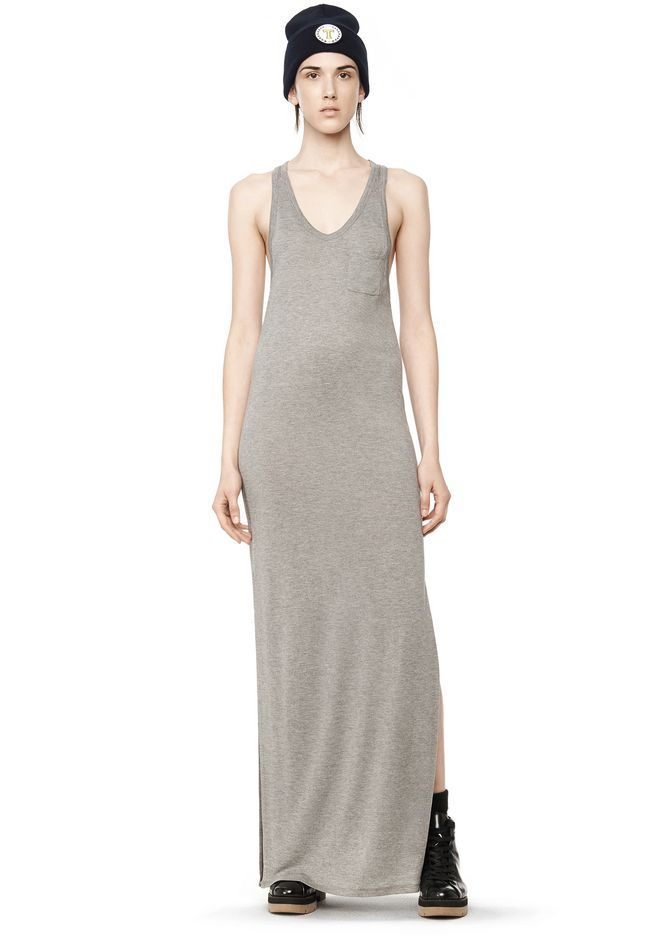 T by ALEXANDER WANG CLASSIC TANK DRESS WITH CHEST POCKET  Long dress Adult 12_n_f