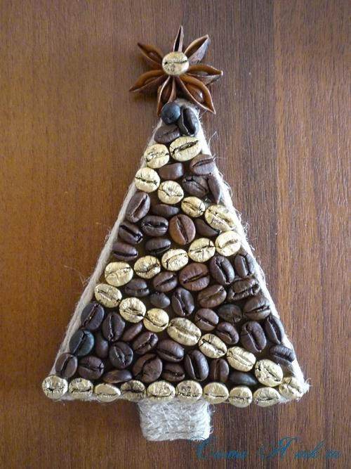 Coffee Christmas trees magnets on the fridge:
