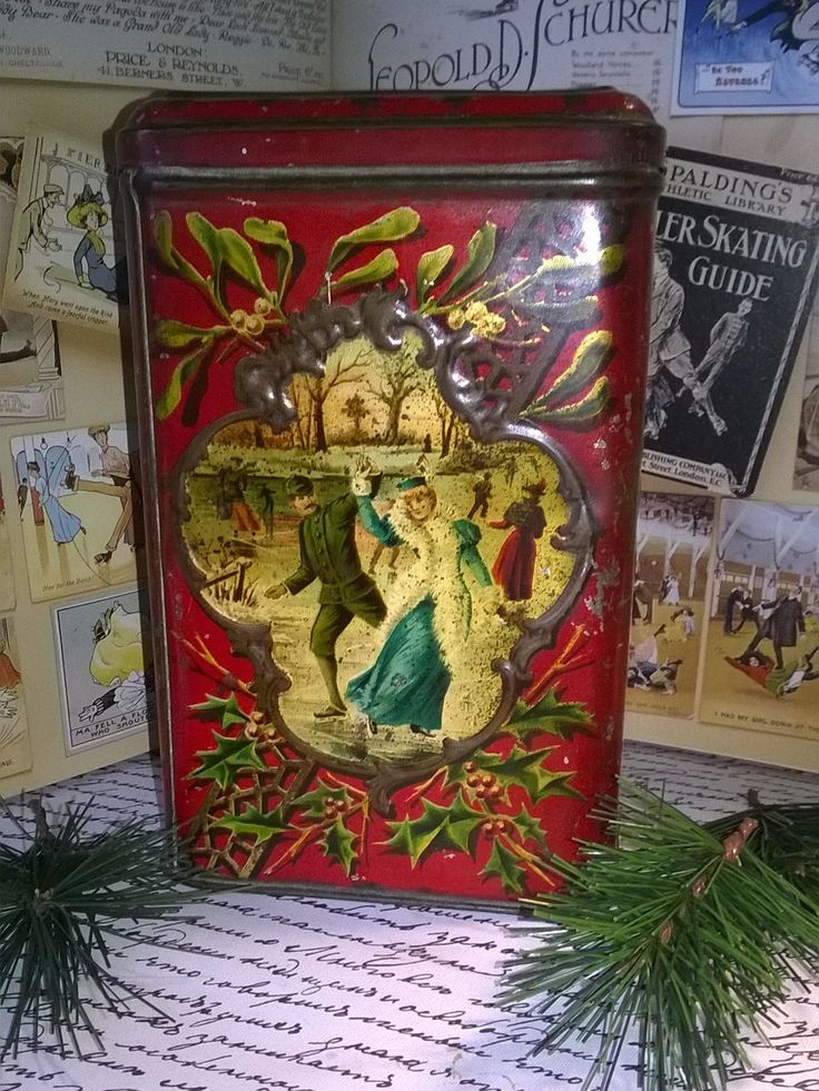 605 best vintage holiday tins images on pinterest tin for Decorating tins for christmas
