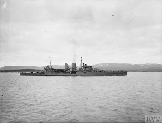 HMS Exeter photographed in April, 1941 from on board HMS Prince of Wales