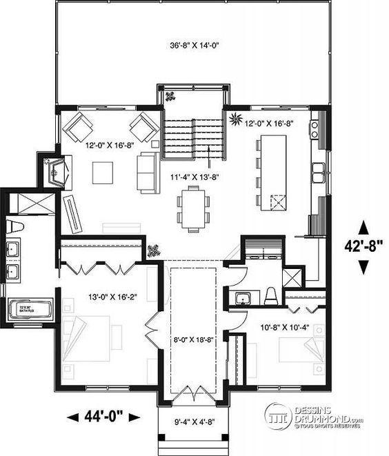 Delicieux Plan De Rez De Chaussée Plan De Chalet 4 Chambres, Superbe Terrasses  Arrière, 3 Salles De Bain, 2 Foyers, Garde Manger, Buanderie   Gleason
