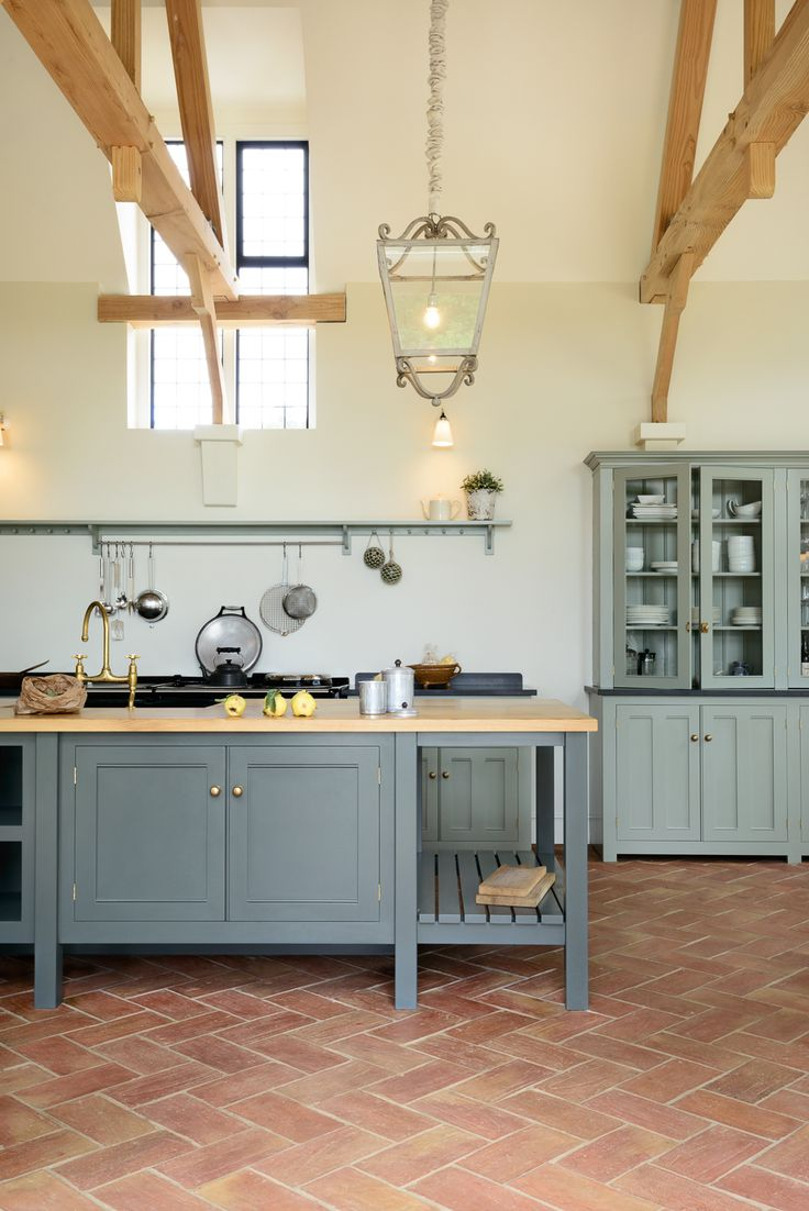 deVOL Classic English furniture, terracotta tiles and beautiful brass details; The Guildford Dairy Kitchen by deVOL