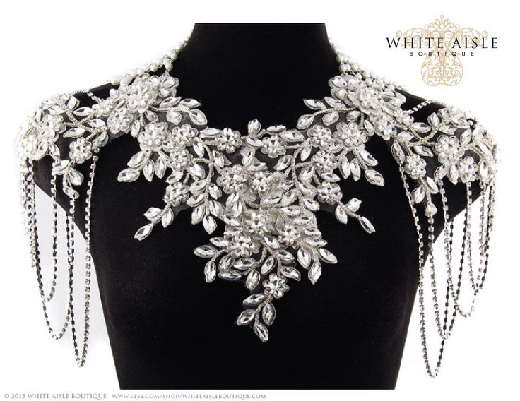Rhinestone Bridal Shoulder Necklace, Statement Necklace, Vintage Inspired Necklace, Pearl Back Drop Necklace, Crystal Necklace with Swags by WhiteAisleBoutique on Etsy https://www.etsy.com/listing/219445753/rhinestone-bridal-shoulder-necklace