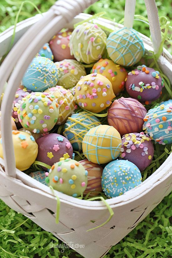 A fun Easter dessert idea, cake balls decorated as Easter eggs! Put them in a basket and watch them disappear.  We are all ready for the Easter bunny in my home. We painted some eggs, we made cake balls, maybe we'll even get to see the Easter bunny himself.  These cake balls were fun to make, and are made lighter than traditional cake balls by using a box cake mix, egg whites and fat free Greek yogurt – no oil, no butter required! Because I use a cake ball pan, there's no need to mix ...