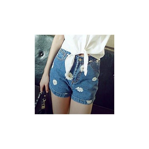 Daisy-Print Cuffed Denim Shorts ($24) ❤ liked on Polyvore featuring shorts, women, cuffed denim shorts, daisy print shorts, daisy shorts and blue shorts