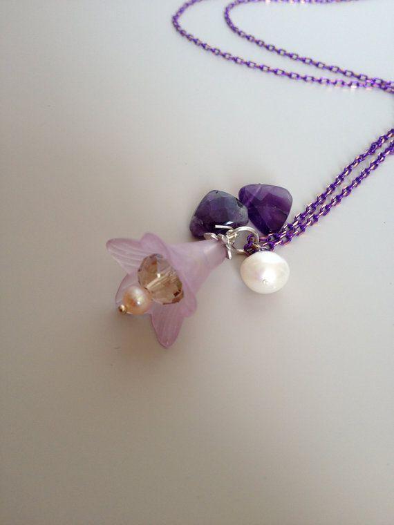 Purple Floral Necklace - Amethyst Necklace - Long Purple Necklace - Pearl Amethyst & Flower Pendant - Long Purple Dangle - Boho Chic