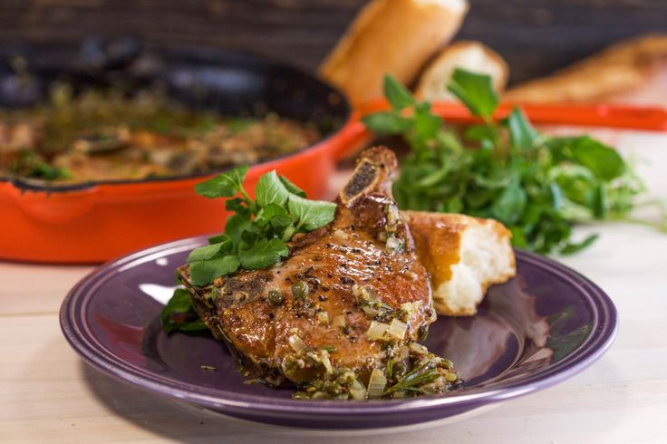 Pork Chops with Shallots, Mustard sauce and Watercress | Sauces, Pork ...