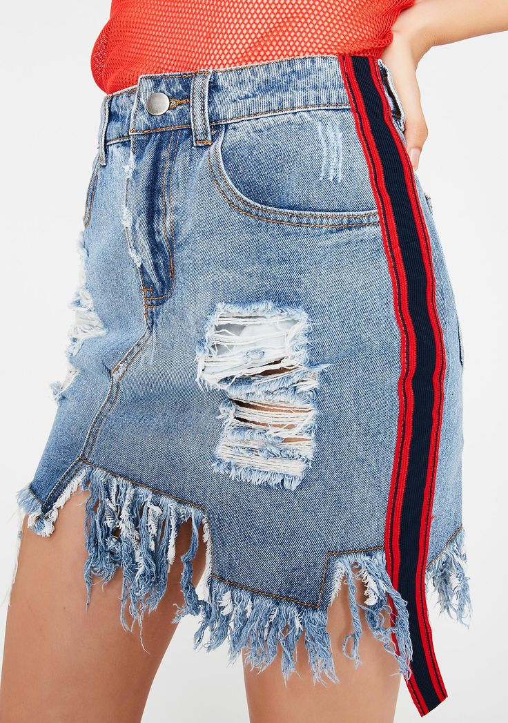 No Good Denim Skirt cuz whatever you're up to, it can't be good... This distressed denim mini skirt has stripes on the sides and a frayed hem at the bottom.#DollsKill #FrontRow #NewArrivals #NewShit #NewStuff #Shirts #Pants #Skirts