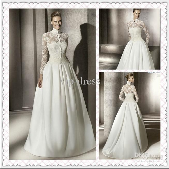 Wholesale 2012 new beauty on sale long sleeves lace high neck muslim wedding dress wedding gown bridal dress, Free shipping, $92.65-143.75/Piece | DHgate