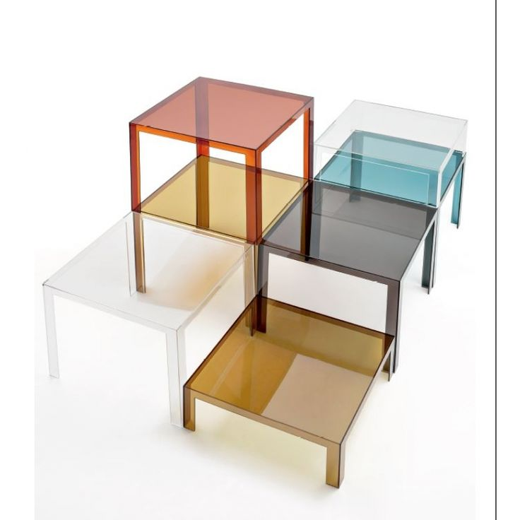 "Kartell Invisible Low Square Table. Straight line design. Made from transparent polycarbonate. Available in Transparent Crystal, Smoke, Green Algae, Amber, Plum, Teal. 13""H x 40""W x 40""D."