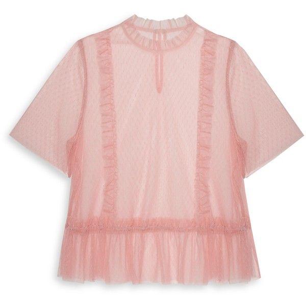 Pink Mesh Peplum Top ❤ liked on Polyvore featuring tops, mesh peplum top, pink mesh top, pink peplum top, pink top and peplum tops