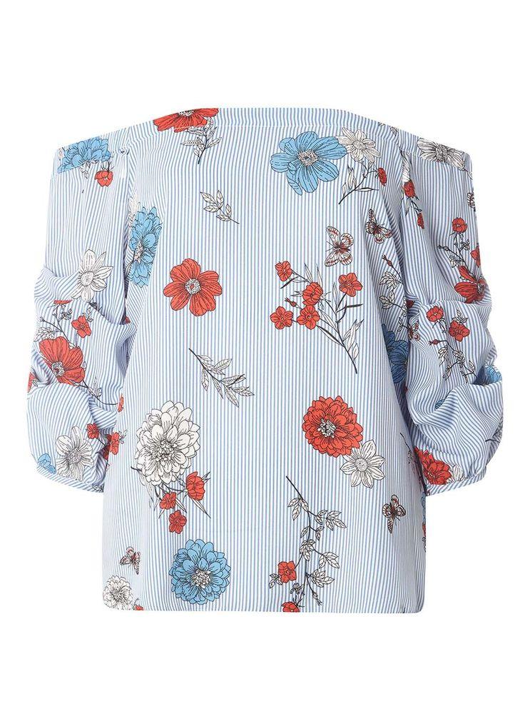 Blue Stripe Floral Bardot Top - Dorothy Perkins