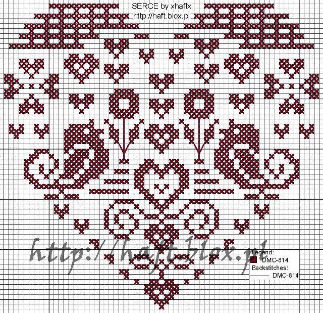 Cross Stitch Pattern birds in heart