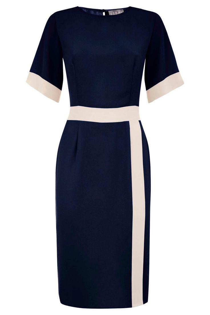 Evelyn Dress Navy   Libby London