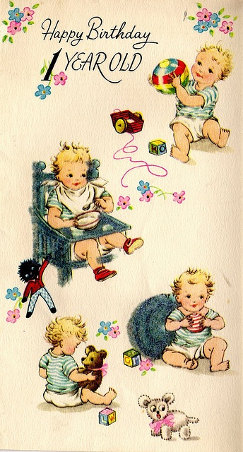 1959 1st birthday card--baby brother was one that year :-)