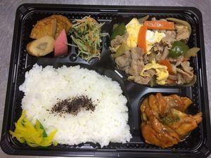 平成27年1月15日(木)ランチメニュー:豚肉卵の中華風/チキンソテー/練り物甘辛煮/青菜お浸し
