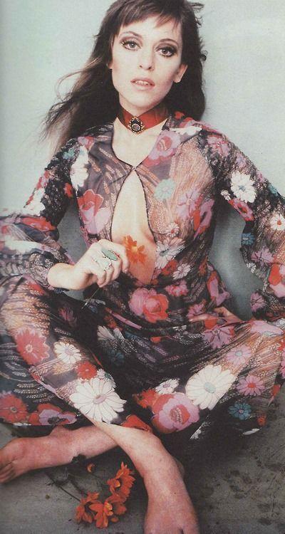Flower child Edina Ronay in Georgina Linhart, 1970s designer dress color print ad sheer black floral long gown boho biba like