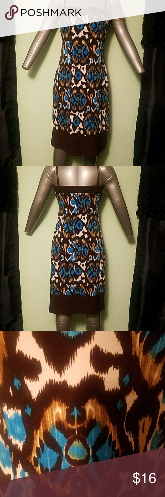Strapless Brown, Blue, and White Dress Pretty printed dress. It can be worn with or without the straps! Only worn a couple times, very good condition! B. SMART Dresses Strapless