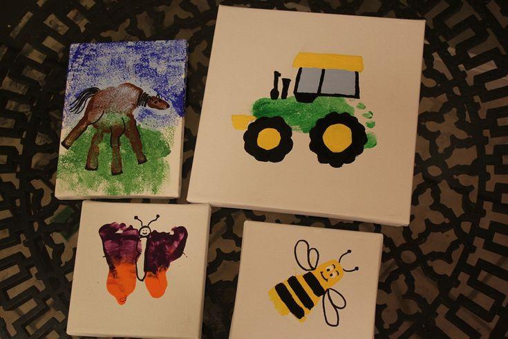 hand/foot print art (Love the John Deere tractor!!! -K)