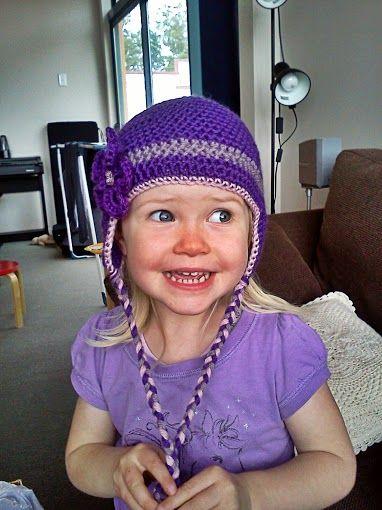 crochet purple earflap hat