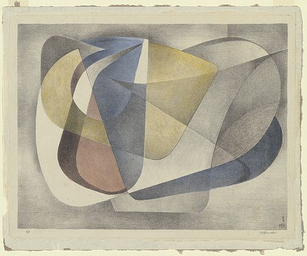 Artist: HINDER, Frank | Title: Abstract | Date: 1949 | Technique: lithograph, printed in black ink, from one stone; hand-coloured from Australian Prints + Printmaking.