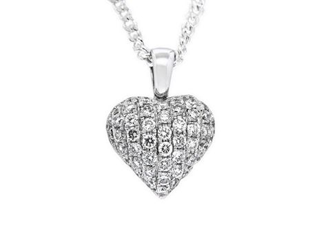 18ct white gold #diamond #heart #pendant with forty-nine brilliant cut #diamonds weighing a total of 0.65ct in #pavé settings.   #thomasjewellers