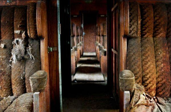 Inside an abandoned carriage, train graveyard, Belgium
