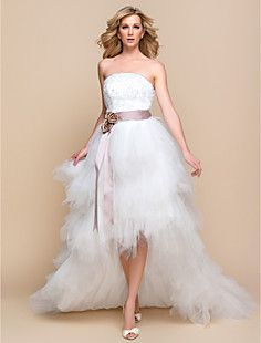 LTBridal A-line Princess Strapless Asymmetrical Tulle And La... – USD $ 58.39 Wedding reception dress. Different color belt/ribbon though!