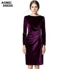 Kadınlar Şarap Redding Vardiya Elbiseler Kış Kadife Sıcak Vestidos Elbiseler Uzun Kollu Rahat Diz Boyu Ofis Işleri Artı boyutu Elbise(China (Mainland))