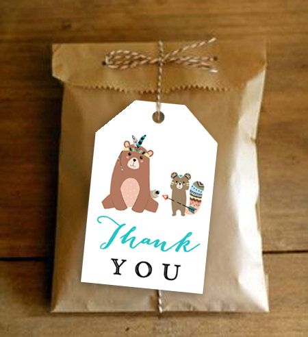 Favor Gift Thank You Tags  Rustic Tribal Bear       Instant Download