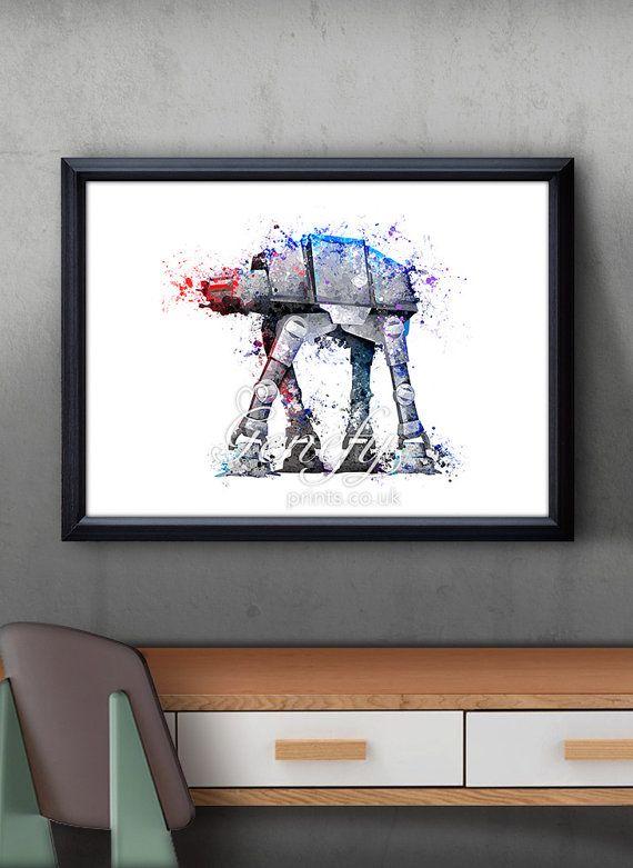 Star Wars AT-AT Walker Aquarell Kunst Silhouette Poster Print - Wand-Dekor - Artwork-Malerei - Illustration - Hauptdekor - Kids Dekor - Kinderzimmer