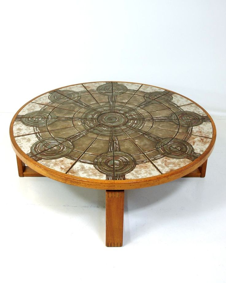 Anonymous Teak And Ceramic Tile Coffee Table By Ox Art