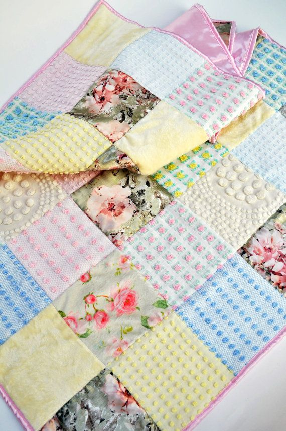 READY TO SHIP: Vintage Floral Nursery, Cottage Chic Nursery, Chenille Quilt, French Country Nursery, Vintage Chic, Vintage Chenille Quilt,