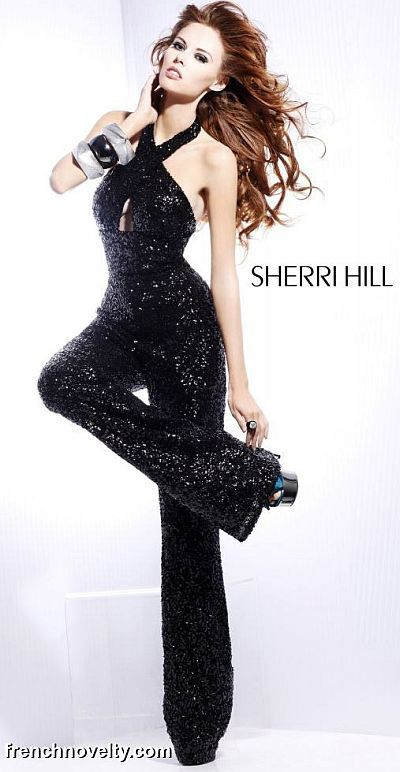 Sherri Hill 8450 Black Sequin Jumpsuit