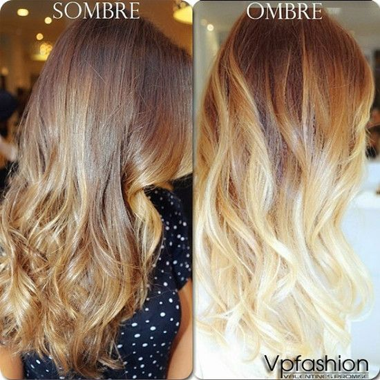 So you can see the difference, sombré is a softer transition in colors from scalp to ends.