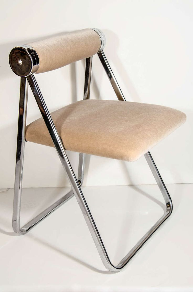 Pair of Ultra Luxe Modernist Folding Chairs Attributed to Giancarlo Piretti | From a unique collection of antique and modern chairs at https://www.1stdibs.com/furniture/seating/chairs/