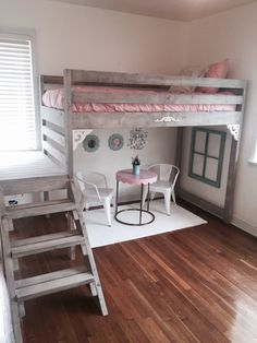love this gray stained wood! Ana white loft bed I made for my daughters room
