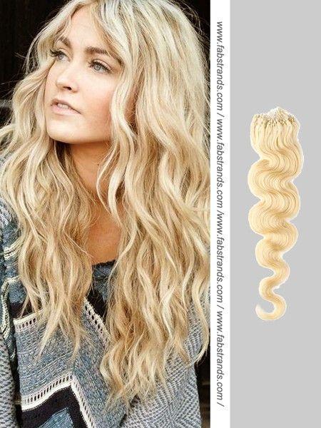 bleach blond wavy hair | Affordable Bleach Blonde Wavy Micro Loop Extensions