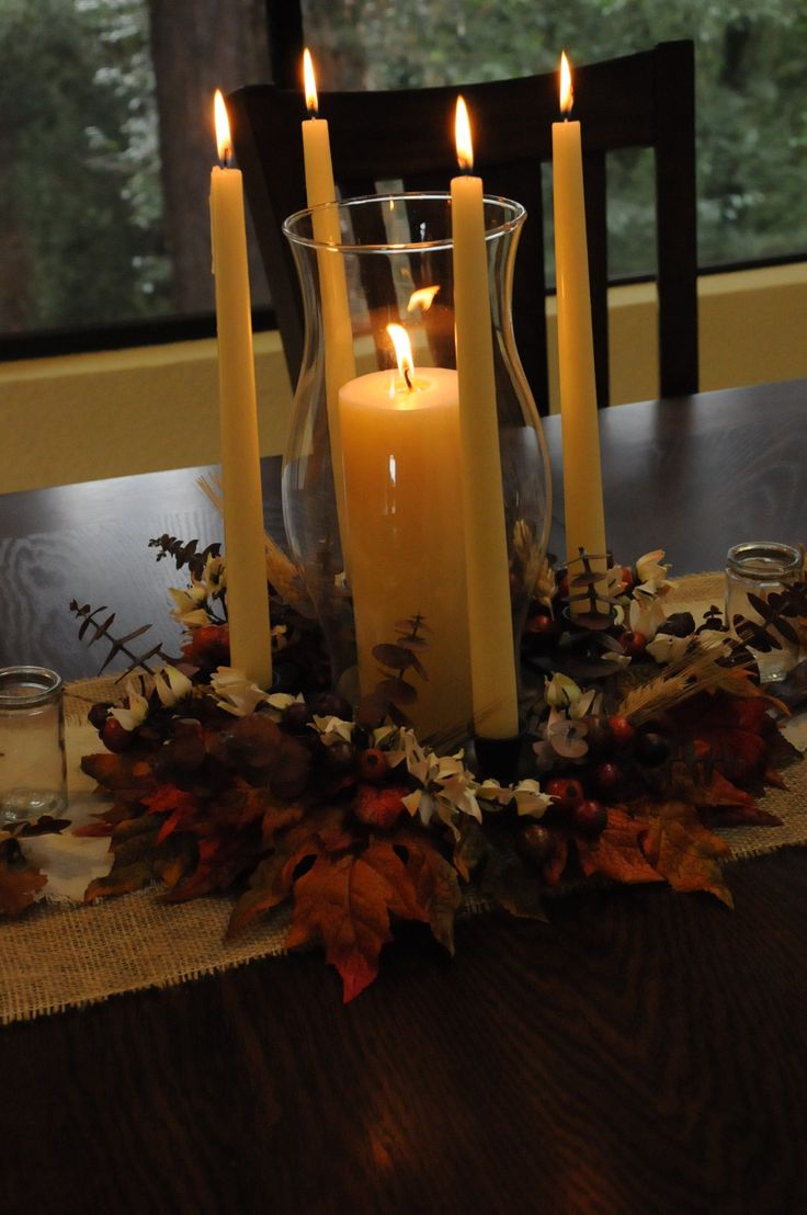 #centerpiece #thanksgivingcenterpiece #candles #fall #adventwreath #thanksgivingdecorations #leaves #beverlys #bevelryfabrics