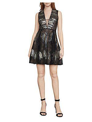 BCBGMAXAZRIA Julissa Stripe Sequin Dress