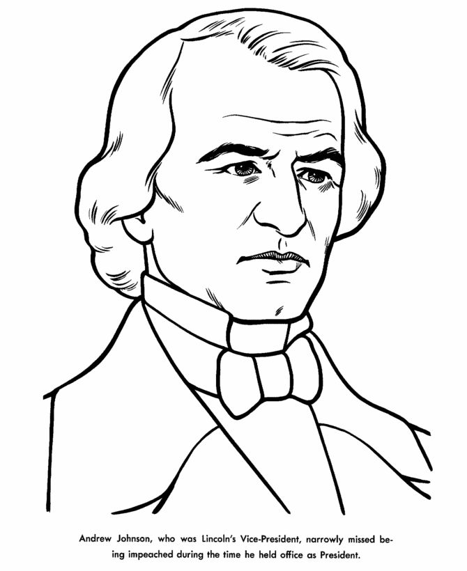presidents day andrew johnson coloring page