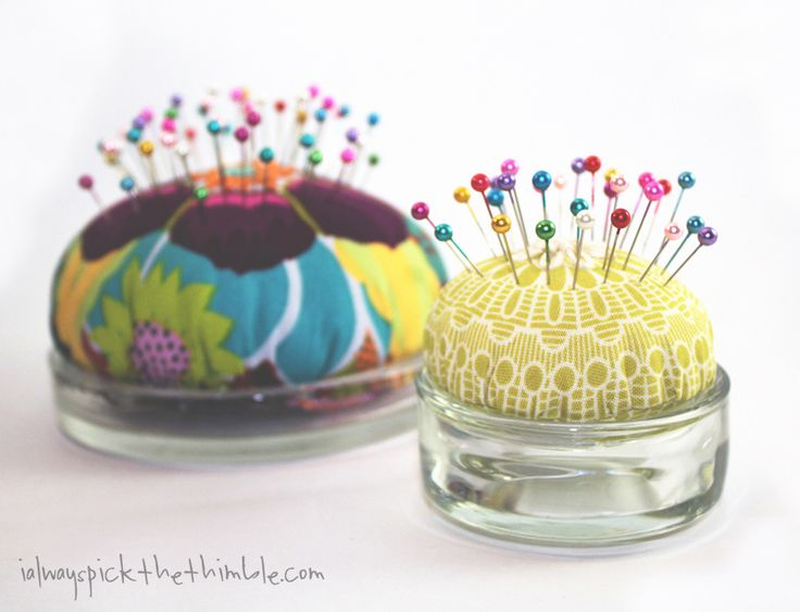 Tea Light + Candle Plate Pincushions - I ALWAYS PICK THE THIMBLE