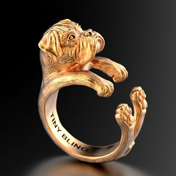 Boxer Breed Natural Ears Jewelry Cuddle Wrap Ring