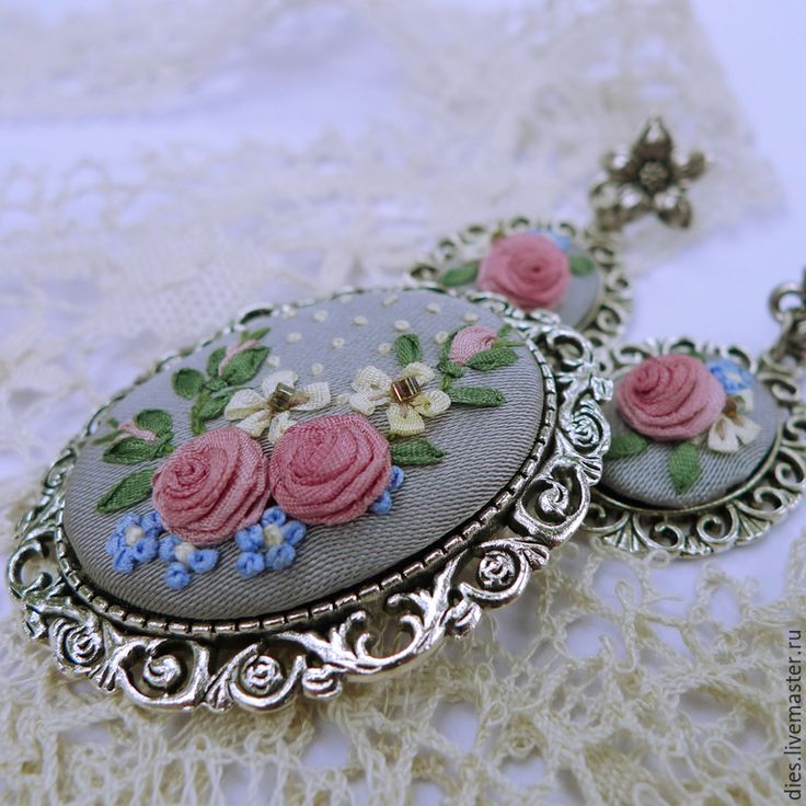 Купить Комплект с вышивкой шелковыми лентами Жемчужное настроение - украшение с вышивкой, Вышивка лентами
