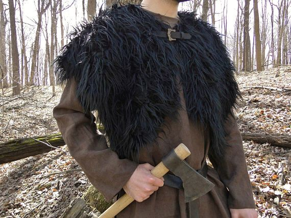 Viking Fur Mantle Capelet Medieval Barbarian