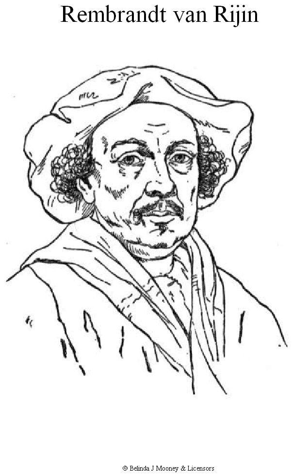 kleurplaat Rembrandt van Rijn KidsnFun