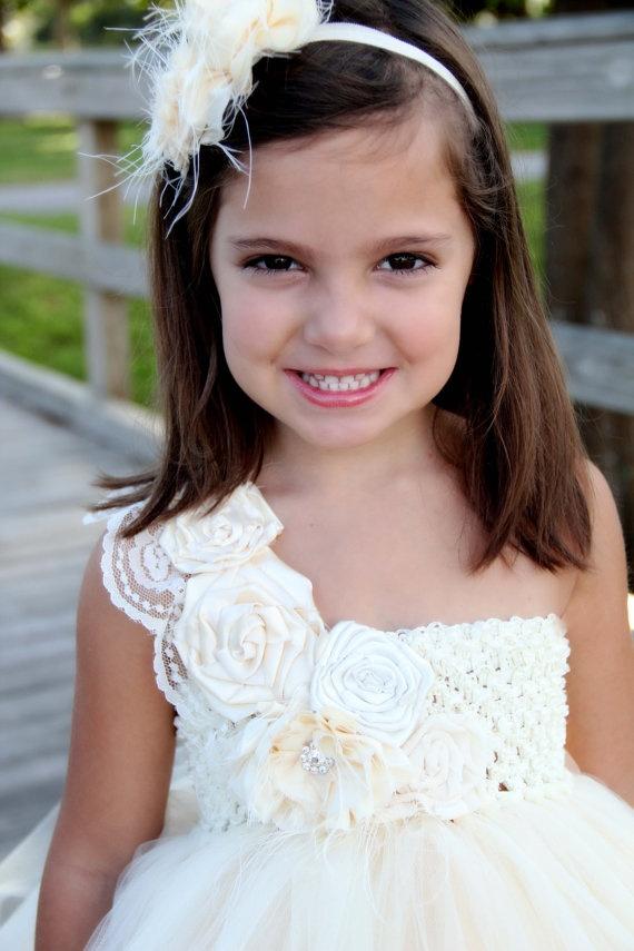 Elegant Ivory flower girl tutu dress, Flower girl dress ...