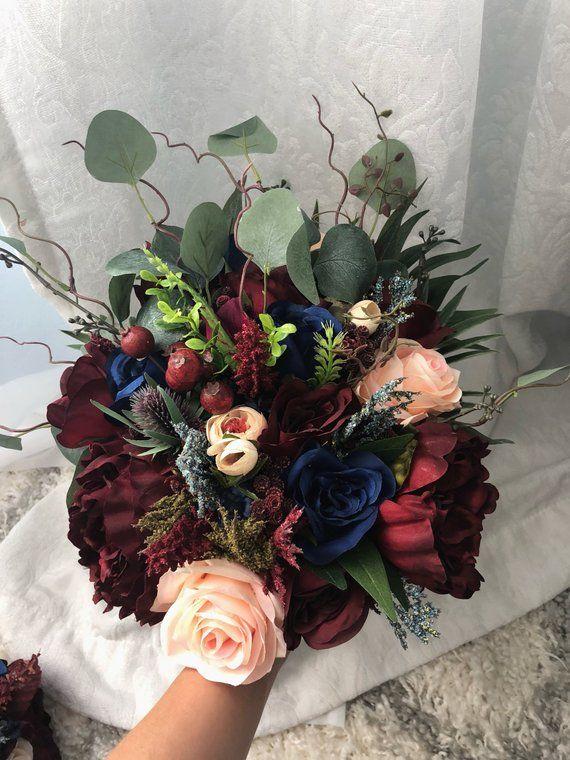 Wedding Bouquet Burgundy Navy Blue Red Peony Eucalyptus Etsy